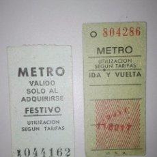 Coleccionismo Billetes de transporte: DOS ANTIGUOS BILLETES DE METRO DE MADRID. Lote 75656127