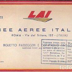 Coleccionismo Billetes de transporte: BILLETE LINEAS AEREAS LAI AÑO 1955. Lote 76213699