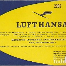 Coleccionismo Billetes de transporte: BILLETE LINEAS AEREAS LUFTHANSA AÑO 1960. Lote 76213827