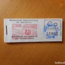 Coleccionismo Billetes de transporte: LOTE TACO DE 25 BILLETES CORRELATIVOS CORPORACIÓN METROPOLITANA DE BARCELONA (CMB). CORNELLÁ. NUEVO. Lote 76984005