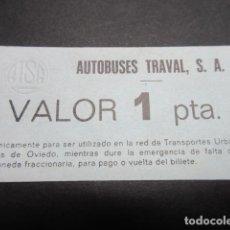 Coleccionismo Billetes de transporte: VALE MONEDA 1 PESETA AUTOBUSES TRAVAL OVIEDO. Lote 110481076