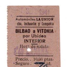 Coleccionismo Billetes de transporte: BILLETE AUTOBUS - AUTOMOBILES LA UNIÓN - BILBAO A VITORIA. Lote 77543197