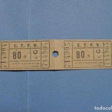 Coleccionismo Billetes de transporte: LOTE 2 BILLETES TREN 80 CTS.: CTFV -VALENCIA- (1957) ¡COLECCIONISTA! ¡ORIGINALES!. Lote 79050789