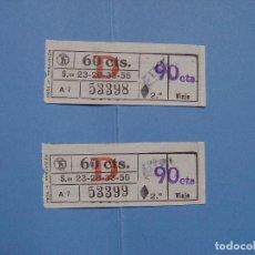 Coleccionismo Billetes de transporte: LOTE 2 BILLETES TRANVÍA BARCELONA 90 CTS. (NESA, 1957) ¡COLECCIONISTA! ¡ORIGINALES!. Lote 79051589