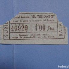 """Coleccionismo Billetes de transporte: BILLETE TRANVÍA BARCELONA (""""EL TIBIDABO"""", 1957) ¡COLECCIONISTA! ¡ORIGINAL!. Lote 79052617"""