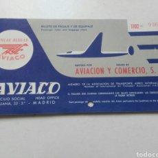 Coleccionismo Billetes de transporte: BILLETE LINEAS AEREAS AVIACO. AÑO 1959.. Lote 79962741