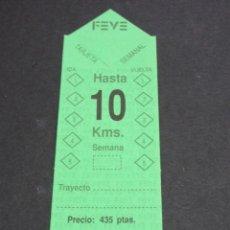 Coleccionismo Billetes de transporte: TARJETA RESISTIVA SEMANAL SIN USAR EMPRESA FEVE - 10 KILOMETROS - RENFE TREN FERROCARRIL. Lote 82216160