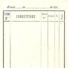 Coleccionismo Billetes de transporte: TRANVIAS 1900-10.IMPRESO PARA INSPECTOR.LINEA GRACIA. Lote 82646028