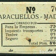 Coleccionismo Billetes de transporte: BILLETE EMPRESA MUÑOZ // PARACUELLOS - MADRID // AÑOS 40 // Z19. Lote 84550314