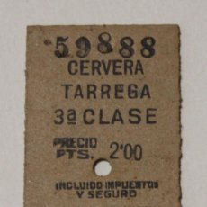 Coleccionismo Billetes de transporte: BILLETE EDMONSON CERVERA - TARREGA AÑO 1945 EN BUEN ESTADO. Lote 82897632