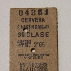 Coleccionismo Billetes de transporte: BILLETE EDMONSON CERVERA - S. MARTIN SASGLAS. AÑO 1944. Lote 82897820