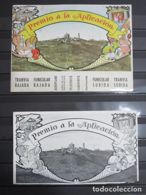 LOTE 2 PREMIOS APLICACION EN COLOR Y BLANCO NEGRO AÑOS 1954 Y 1961 TRANVIA BLAU FUNICULAR TIBIDABO? (Coleccionismo - Billetes de Transporte)