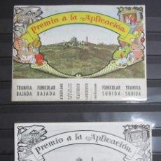 Coleccionismo Billetes de transporte: LOTE 2 PREMIOS APLICACION EN COLOR Y BLANCO NEGRO AÑOS 1954 Y 1961 TRANVIA BLAU FUNICULAR TIBIDABO?. Lote 84253676