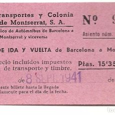 Coleccionismo Billetes de transporte: AUTO TRANSPORTES PUIG DE MONTSERRAT.SEPT 1941. Lote 84847452