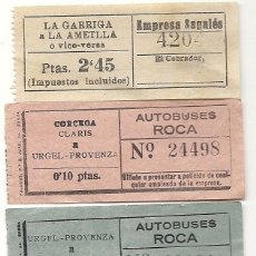 Coleccionismo Billetes de transporte: 3 BILLETES.AUTOBUSES ROCA-SAGALES. Lote 84847744