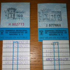 Coleccionismo Billetes de transporte: 2 BONOBÚS 10 VIAJES AUTOBÚS EMT MADRID 160 PESETAS. Lote 85220090
