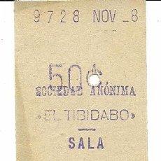 Coleccionismo Billetes de transporte: (BT-170400)BILLETE 50 CTS.SOCIEDAD ANONIMA EL TIBIDABO. Lote 85700831