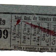 Coleccionismo Billetes de transporte: BILLETE TRANVIA, ELECTRICO DE PALMA MALLORCA 60 CTS. , VER POBLACIONES . Lote 86463496