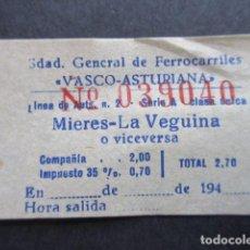 Coleccionismo Billetes de transporte: BILLETE SOCIEDAD GENERAL DE FERROCARRILES VASCO-ASTURIANA MIERES LA VEGUINA / RENFE TREN FERROCARRIL. Lote 92927288
