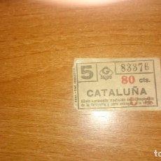Coleccionismo Billetes de transporte: BILLETE METRO DE BARCELONA 80 CTS CATALUÑA. Lote 86958996