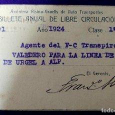 Coleccionismo Billetes de transporte: BILLETE DE FERROVIARIO ANUAL DE LIBRE CIRCULACION. ANONIMA ALSINA- GRAELLS DE AUTO TRANSPORTES. 1924. Lote 87150572