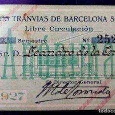 Colecionismos Bilhetes de Transporte: LOS TRANVIAS DE BARCELONA. LIBRE CIRCULACION. BILLETE DE FERROVIARIO. 1927. Lote 87151048