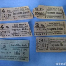 Coleccionismo Billetes de transporte: LOTE DE ANTIGUOS BILLETES DE TRANSPORTE PÚBLICO DE SEVILLA. Lote 89011148