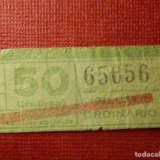 Coleccionismo Billetes de transporte: BILLETE DE TRANVIA - TRANVIAS DE BARCELONA - 50 CÉNTIMOS - 65656 - NÚMERO CAPICUA -. Lote 89180144