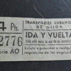 Coleccionismo Billetes de transporte: BILLETE AUTOBÚS TRANSPORTE URBANO DE GIJÓN IDA Y VUELTA. Lote 89274987