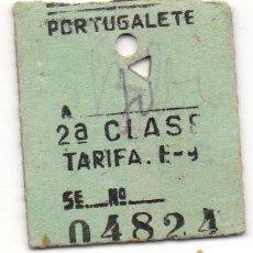 Coleccionismo Billetes de transporte: ANTIGUO BILLETE DE TRANSPORTE - PORTUGALETE - VIZCAYA - 2ª CLASE - Nº 04824. Lote 89507288