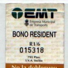 Coleccionismo Billetes de transporte: TICKET TRANSPORTE BONO RESIDENT EMT PALMA MALLORCA . Lote 89567384