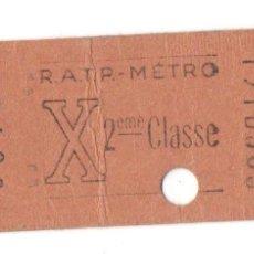 Coleccionismo Billetes de transporte: ANTIGUO BILLETE DE TRANSPORTE - BILLETE DE METRO - PARÍS - FRANCIA - RATP - 2º CLASE - . Lote 89608388