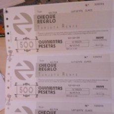Coleccionismo Billetes de transporte: CHEQUERA RENFE - 15 CHEQUES REGALO (TARJETA RENFE). Lote 89729888