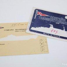Coleccionismo Billetes de transporte: PAREJA DE BILLETES DE TRANSPORTE / PASAJE USADOS - COMPAÑÍA TRANSMEDITERRÁNEA -BARCELONA-MAHÓN, 1976. Lote 90957360