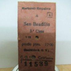 Coleccionismo Billetes de transporte: MARTORELL EMPALME SAN BAUDILIO ANTIGUO BILLETE FERROCARRIL . FERROCARRILES CATALANES SANT BOI. Lote 92545160