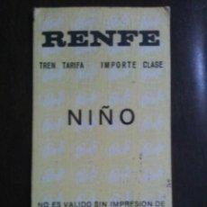 Coleccionismo Billetes de transporte: BILLETE DE RENFE DE NIÑO VENDIDO EN TRAYECTO. Lote 93105720