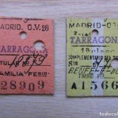 Coleccionismo Billetes de transporte: 2 BILLETES DE TREN DE RENFE EDMONDSON MADRID-TARRAGONA 1962. FERROCARRILES. Lote 94315374