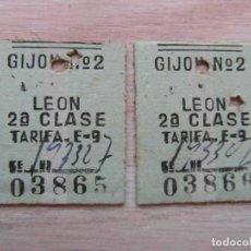 Coleccionismo Billetes de transporte: 2 BILLETES DE TREN DE RENFE EDMONDSON GIJON-LEON CORRELATIVOS 1964. Lote 94316994