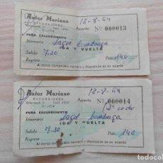 Coleccionismo Billetes de transporte: 2 BILLETES DE AUTOBUS PARA LOS LAGOS DE COVADONGA 1964. Lote 94339154
