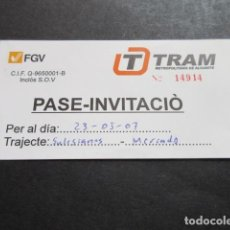 Coleccionismo Billetes de transporte: PASE INVITACION PARA FERROCARRILES GENERALITAT VALENCIA TRANVIA TRAM DE ALICANTE. Lote 101132527