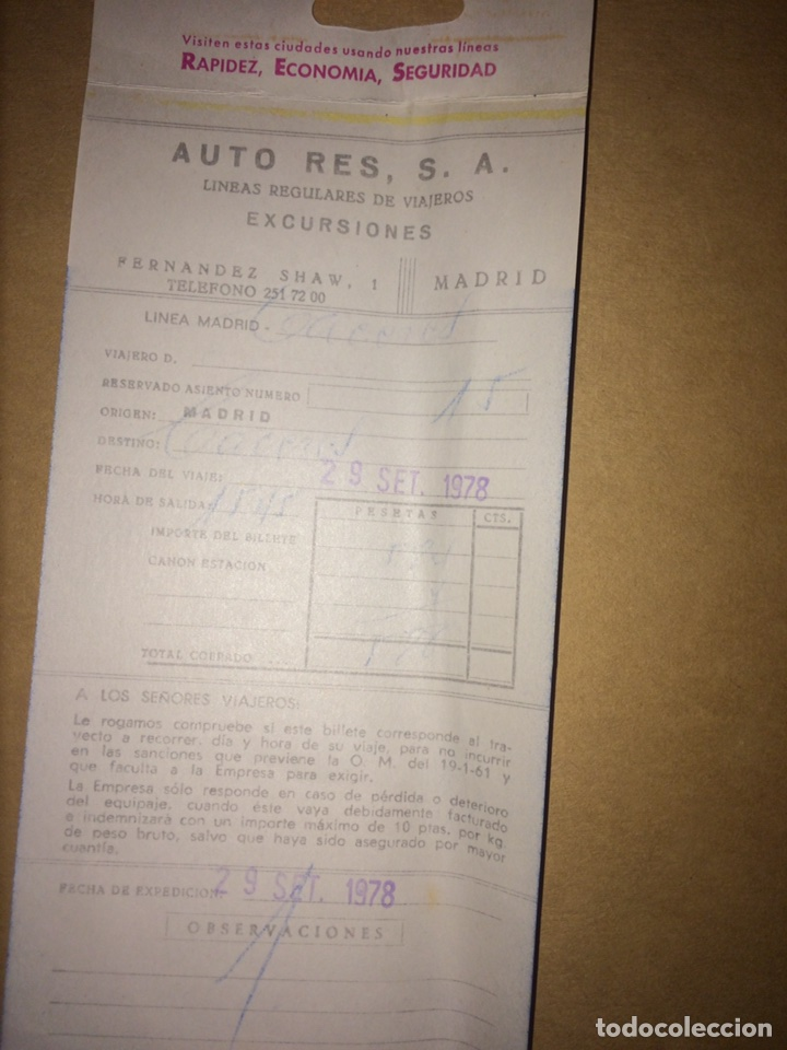 Coleccionismo Billetes de transporte: Billete Auto-Res Madrid-Cáceres 1978 - Foto 2 - 95540423