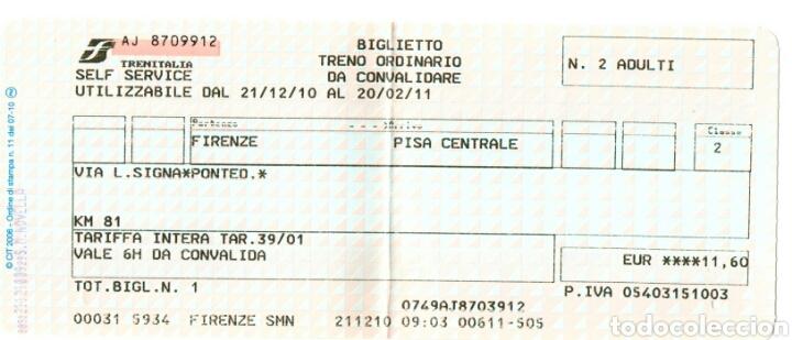 BILLETE TREN, TRENITALIA 2010 (Coleccionismo - Billetes de Transporte)
