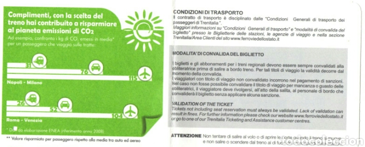 Coleccionismo Billetes de transporte: BILLETE TREN, TRENITALIA 2010 - Foto 2 - 95565490