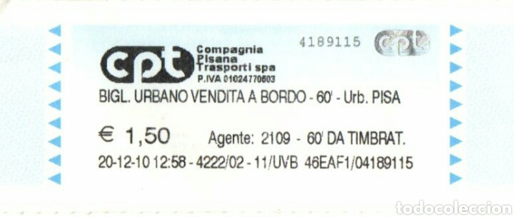 BILLETE COMPAGNIA PISANA DI TRANSPORTI (Coleccionismo - Billetes de Transporte)