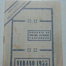 Coleccionismo Billetes de transporte: HORARIO TRENES, AVIONES Y AUTOBUSES. 1955. CAJA DE AHORROS VIZCAINA.. Lote 96839355