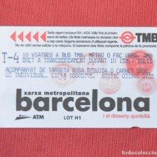 Coleccionismo Billetes de transporte: TARJETA DE BUS - BARCELONA - T4 - YARJETA DE ACOMPAÑANTE DE TARJETA ROSA - VER REVERSO. Lote 97204459