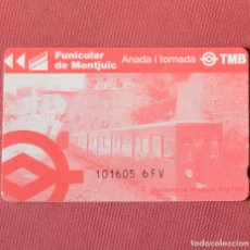 Coleccionismo Billetes de transporte: TARJETA FUNICULAR DE MONTJUIC - BARCELONA - IDA Y VUELTA. Lote 97204627
