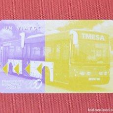 Coleccionismo Billetes de transporte: TARJETA DE BUS TERRASSA - TRANSPORTS MUNICIPALS D' EGARA - 1 VIAJE - SIN USO. Lote 97204867