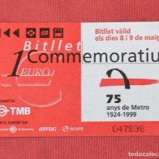 Coleccionismo Billetes de transporte: TARJETA DE BUS Y METRO - CONMEMORATIVA - 75 ANYS DE METRO - SIN USO. Lote 97205619