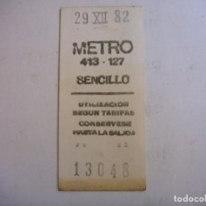 Coleccionismo Billetes de transporte: BILLETE DE METRO DE MADRID 1982. Lote 97481795